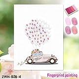 Leinwand Fingerabdruck Gästebuch Dekorationen Schöne Hochzeit Auto Finger Malerei DIY Geburtstag Party Dekoration - Pink