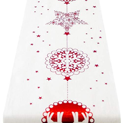 Tovaglia natalizia natale runner cotone e lino da tavolo a tema di panno per decorare casa cena da tavola cucina stile vintage natale decorazioni,28 x 270 cm