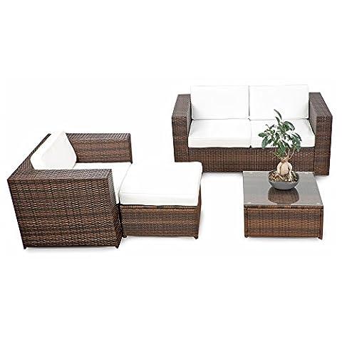 erweiterbares 12tlg. Rattan Lounge Möbel Balkon Sitzgruppe - braun-mix -