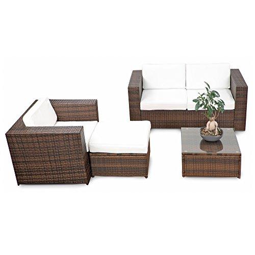 erweiterbares 12tlg. Rattan Lounge Möbel Balkon Sitzgruppe - braun-mix - Garnitur Gartenmöbel Lounge Möbel Set Balkon - inkl. Lounge Sofa + Sessel + Hocker + Tisch + Kissen