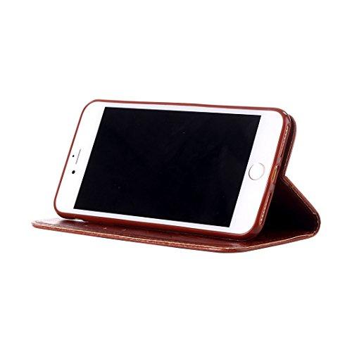 Handyhülle iPhone 7 Plus Flipcase mit Lanyard ,Moon mood® Ledertasche Brieftasche für iPhone 7Plus (5.5 Zoll) ,PU Leder Hülle Wallet Case Folio Schutzhülle Scratch Mit Diamanten Schmetterling Blume De A-Braun