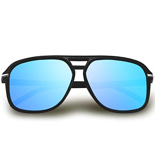 AMZTM Polarisiert Aviator Brille für Damen Herren Reflektierend Treibende Fischerei Sonnenbrille Übergroß HD Vision Blendschutz UV 400 Schutz (Schwarz und Eisblau, 65)