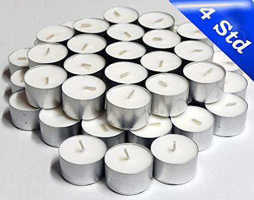 Gewerbliche Vier (Hillfield® 1.200 Teelichte, Brenndauer 4 Stunden, Weiß, auch für die anspruchsvolle Gastronomie, Großpackung)