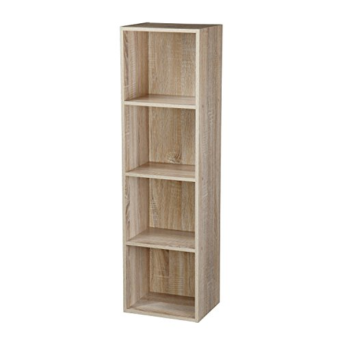 TOP Marques Collectibles 1, 2, 3, 4 Etagen Holz Bücherregal Regalsystem Display Aufbewahrung Holz Regal Böden Einheit, Antique Oak, 4 Ablagefächer -