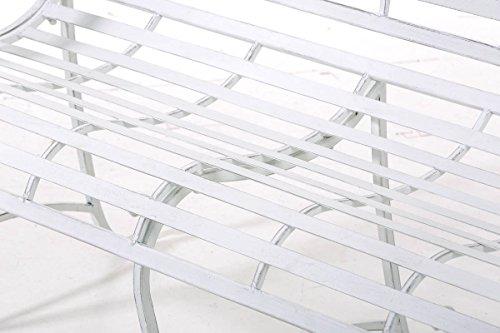 CLP Gartenbank ROY im Landhausstil, aus lackiertem Eisen, 129 x 69 cm – aus bis zu 6 Farben wählen Antik Weiß - 6