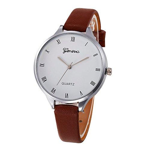 Armbanduhr Für Mädchen, OVERMAL Frauen Damen Mode Leder Quarz Armbanduhr Uhr (Braun #2)