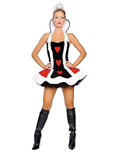 New Deluxe Damen-Königin der Herzen Kostüm Kleid Halloween Hen Night Party Größe UK 12–14EU 40–42 (Königinnen Der Herzen Kostüme)