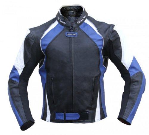 #Lederjacke Motorradjacke Chopperjacke Jacke aus leder Kombijacke Schwarz/Blau, Größe:60#