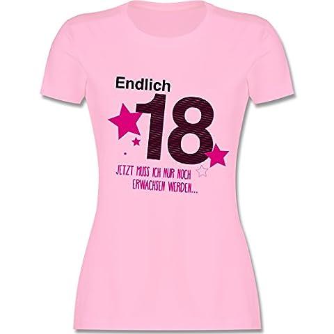Geburtstag - Endlich 18 - M - Rosa - L191 - tailliertes Premium T-Shirt mit Rundhalsausschnitt für Damen
