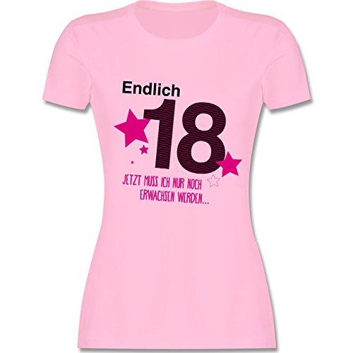 Geburtstag - Endlich 18 - XL - Rosa - L191 - Damen T-Shirt Rundhals