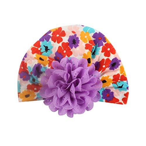 Lazzboy Baby Mädchen Blumendruck Blume Hut Warme Mütze Headwear Cap Niedlich Kinder Baumwolle Elastische Stirnbänder Bogen Stirnband Haarband Haarschmuck Kopfbedeckungen(D)
