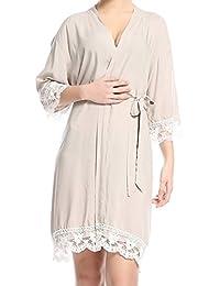 Mxssi Bride Solid Girls Mujeres Albornoces Maternity Ropa de Dormir Nuevo Encaje Nightrobe Soft Cotton Sexy