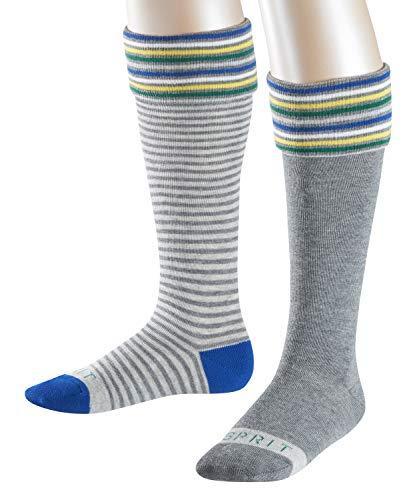ESPRIT Kinder Kniestrümpfe Stripe Logo 2-Pack, 80% Baumwolle, 2 Paar, Grau (Light Grey Melange 3390), Größe: 31-34