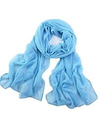Internet Filles femmes mince Long Soft Wrap Lady châle mousseline de soie foulard plage Solide foulards 160*50CM