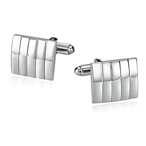 amdxd Jewelry Edelstahl Manschettenknöpfe für Herren Vertikal gestreift quadratisch silber 1,7x 1,5cm