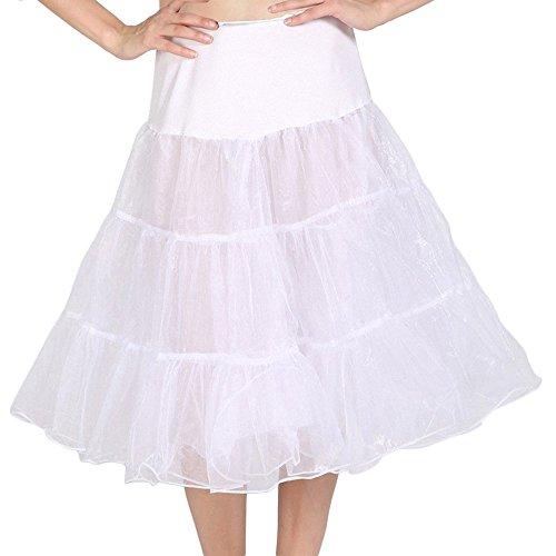 DaisyFormals® 50er VINTAGE ROCKABILLY PETTICOAT CRINOLINE,67cm Länge Tutu- White,LXL