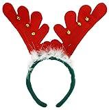 GYD Rentier Geweih Elchgeweih Rentiergeweih Haarreif Rudolph Rentier Geweih auf Haarreif Weihnacht Nikolaus Kostüm Verkleidung Zubehör Elch Geweih mit Glocken