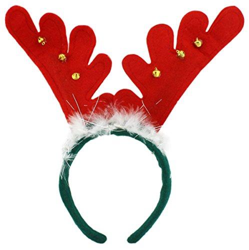 lchgeweih Rentiergeweih Haarreif Rudolph Rentier Geweih auf Haarreif Weihnacht Nikolaus Kostüm Verkleidung Zubehör Elch Geweih mit Glocken (Rudolph Geweih)