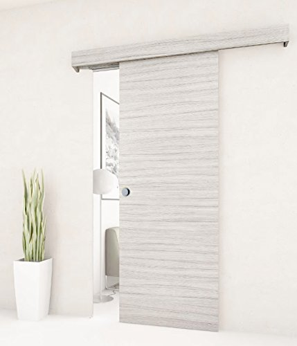 Porta scorrevole esterno muro in PALISSANDRO WHITE completa di binario e mantovana