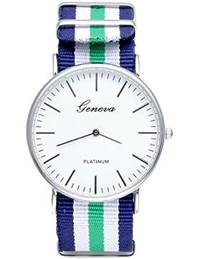 JSDDE Uhren,Genf Herren Damen Armbanduhr Nylon Textil Band Durchzugsband Analog Quarzhr Chronograph Uhr(Gruen-Weiss-Blau)