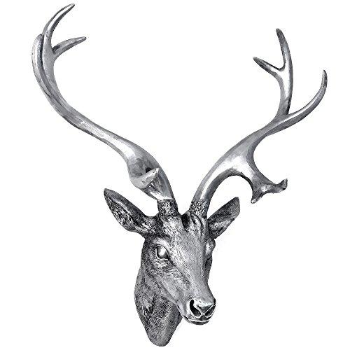 Alu Wanddekoration Hirschkopf Hirschgeweih Geweih Jagd Dekoration Silber 61cm
