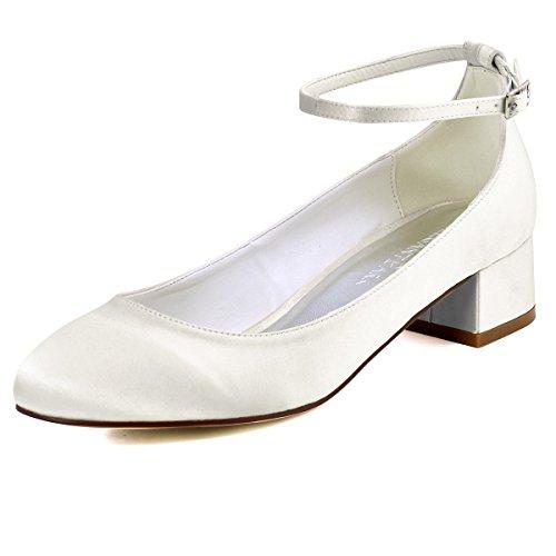 Elegantpark FC1613 Damen Geschlossene Zehen Ankle Strap Block Absatz Pumps Hochzeit Brautschuhe Ivory EU 42