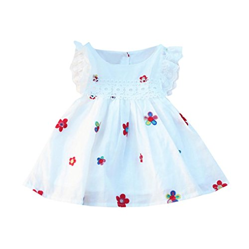 Wanshop Floral Princess Dress Toddler Infant Baby Girls Cute Sleeveless Strawberry Embroidery Dress Summer Outfits Clothes for 0-5 Years Old