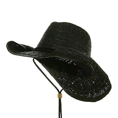 MG Ladies Straw Toyo Cowboy Hat (Black)
