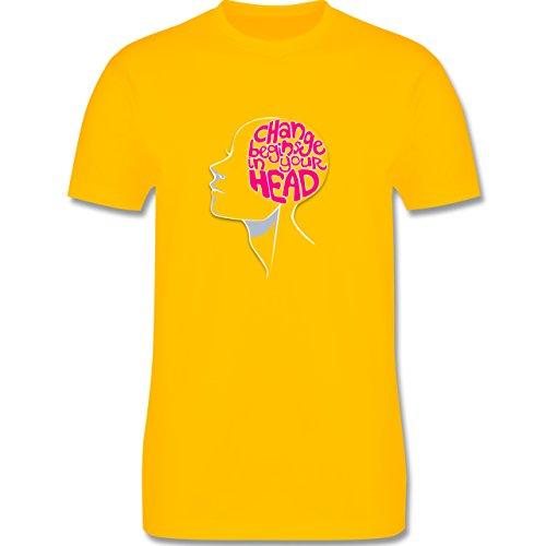 Statement Shirts - Change begins in your head - Herren Premium T-Shirt Gelb