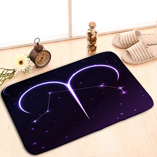 iday Rectangle Non-Slip Rubber Mat Multicolor 23.6 by 15.7 Inch Space Symbol Aries Zodiac Horoscope Concept Star Cons ()