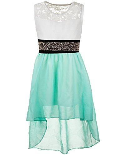 Mädchen Party Kleid fest Kommunions Hochzeit Kinder festlich Sommerkleid Festkleid in vielen Farben M361gn Grün Gr. 18/170