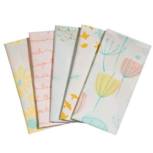 Taschentücher aus Stoff, waschbare, wiederverwendbare Öko Stoff-Taschentücher aus Baumwolle, 5 Taschentücher - Made in Germany (Frühlingswind) -