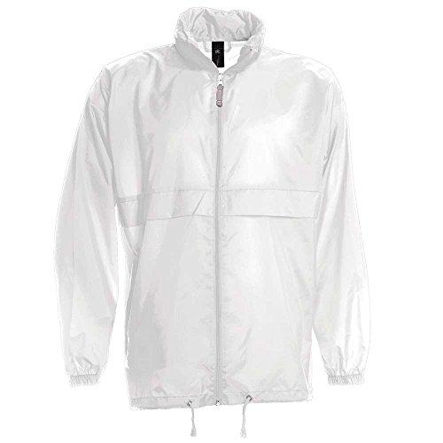 B&C Mens Sirocco The Windbreaker showerproof foldaway jacket White*