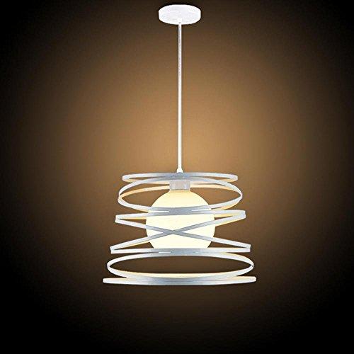 YINshop Pendelleuchte, Modern White Iron Frame Glas Lampenschirm E27 1 Flame Design Küche Flur Studie Esszimmer Licht (Durchmesser 32 cm Suspension 100 cm)