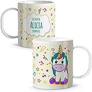 LolaPix Taza Unicornio Infantil niños y niñas Personalizada con Nombre. Vuelta al Cole. Plástico. Varios Diseñ