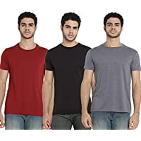 Baaqoo Men Cotton Round Neck T-Shirt (Maroon, Black & Grey Medium)
