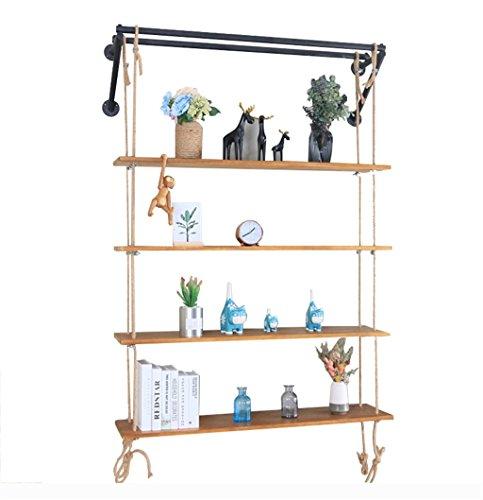 Étagère murale en bois de 4 niveaux avec la corde de chanvre supports en métal noir accrochant l'étagère pour la chambre comme étagère de stockage décorations industrielles Design