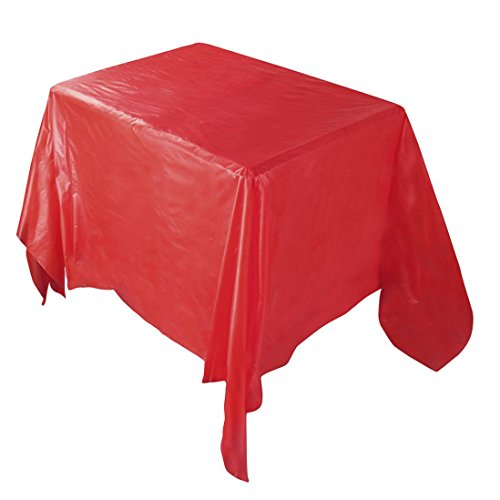 Prevently Brand 137*274CM Solid Color/ Dot Waterproof Oilproof Plastic Tablecovers Table Cloth Cover Party Catering Events Tableware Home Party Decor (Red)