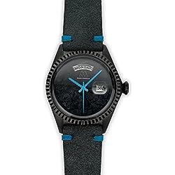 Watch Marco Mavilla Vintage Black Stone Jasper Suede Strap Anthracite Blue