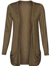 Para mujer Drop bolsillo Boyfriend abierto Cardigan Top Ladies Big Plus tamaño Cardigans UK 161820222426