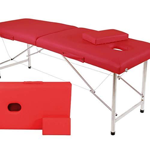 ZEDICN Professionell Spa Massage Tabellen Faltbar Mit Carring Tasche Salon Möbel Edelstahl Stahl Metall Falten Single Bett Schönheit Massage Tabelle-Rot-180 * 60Cm