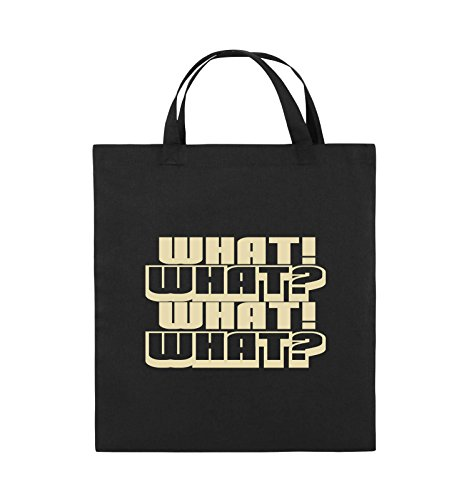 Comedy Bags - WHAT! WHAT! WHAT! WHAT! - Jutebeutel - kurze Henkel - 38x42cm - Farbe: Schwarz / Pink Schwarz / Beige