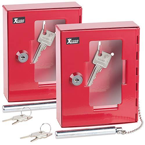 Xcase Notfall-Schlüsselbox: 2er Pack Profi-Notschlüssel-Kasten mit Einschlag-Klöppel &Sicherheits (Schlüsselkasten für Notfall)