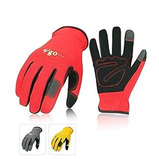 Vgo 3 Paires Gants de Travail en Cuir Nubuck(Taille 10/XL, Rouge + Gris + Jaune, NB7581)