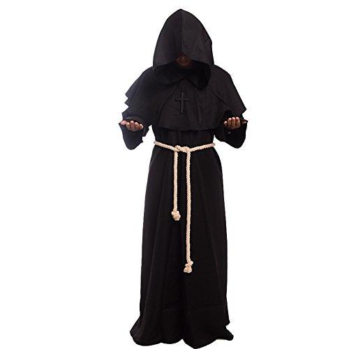 BLESSUME Priester Robe Mönch Mittelalterliche Kapuze Kapuzenmönch Renaissance Robe Kostüm (Schwarz) (XL)