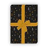 Designer Weihnachtspapier/Geschenkpapier zu Weihnachten mit grafischen, kleinen Weihnachtsbäumen, schwarz, für tolle Geschenk Verpackung und Überraschungen (4 Bogen, 32 x 48cm)