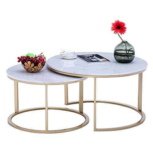FEI Satz von 2 runden Verschachtelungstisch-künstliche Marmor Nano Gold Frame Side End Table Couchtische für Wohnzimmer - Frame-couchtisch