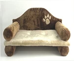 Rosewood Cairo Plush Cat Bed, Brown/ Beige by ROSEWOOD