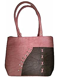 Double Colour Contrast Shoulder Handbag | Brown & Pink Colour | For Women | By AZED Collections