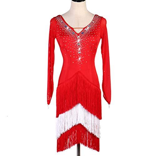 Kostüm Cha Dance - Latin Dance Professional Turnierkleid Für Frauen Lange Ärmel Fransenrock V-Ausschnitt Stretch Dance Kostüm Rumba Cha Cha Zumba Tanz Performance Kleidung Strass,L